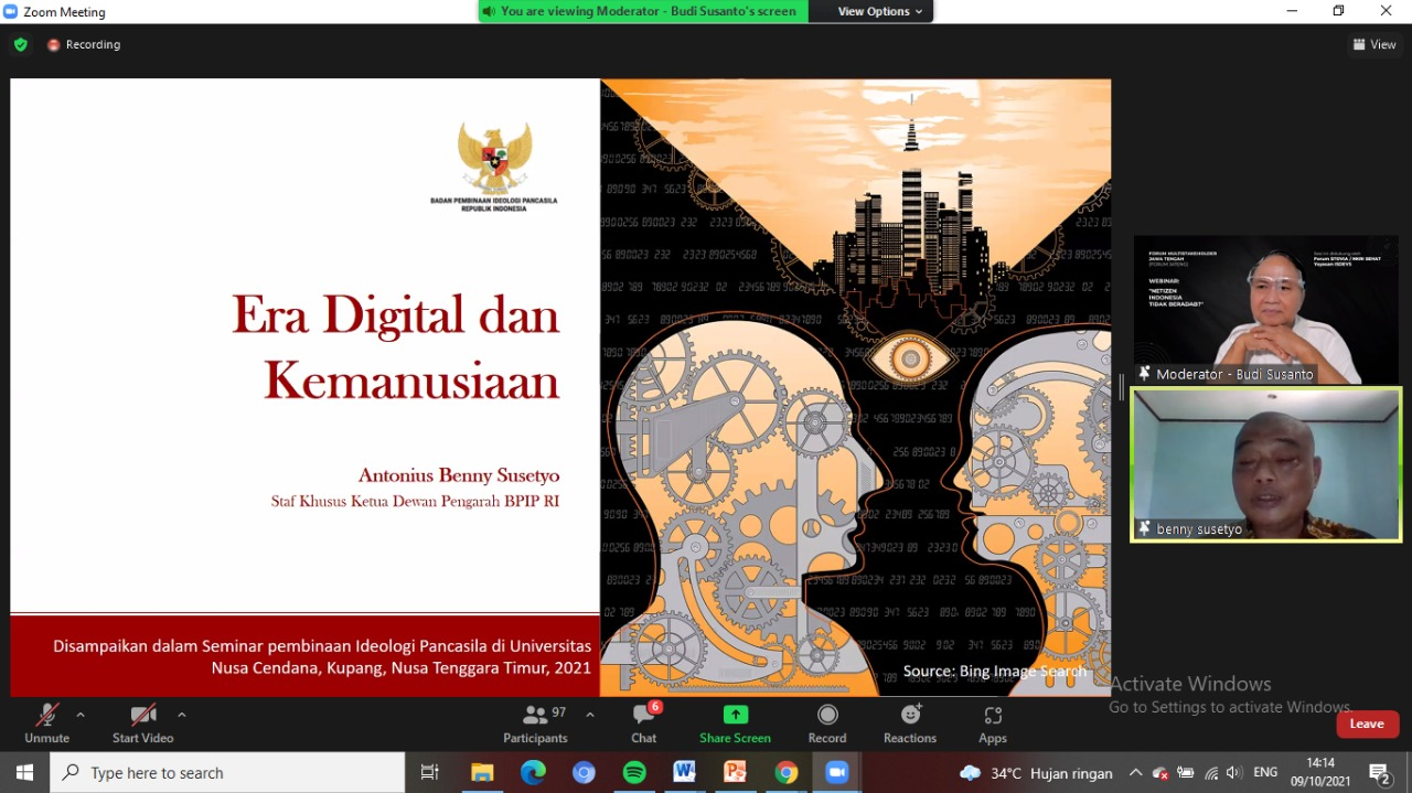 Staf Khusus Ketua Dewan Pengarah Badan Pembinaan Ideologi Pancasila (BPIP) Romo Antonius Benny Susetyo menyebut merajut etika dan nilai kemanusiaan merupakan kunci kemajuan ruang digital Indonesia.